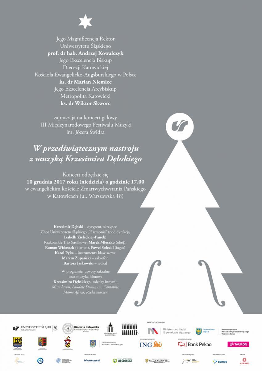 """plakat promujący koncert """"W przedświątecznym nastroju z muzyką Krzesimira Dębskiego"""" z osobami zapraszającymi, listą wykonawców i listą wykonywanych podczas koncertu utworów"""