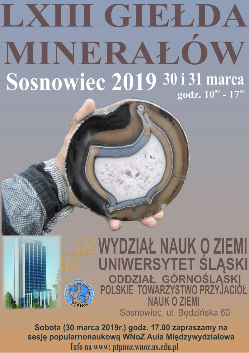 Plakat promujący LXIII Międzynarodową Wystawę i Giełdę Minerałów, Skał i Skamieniałości