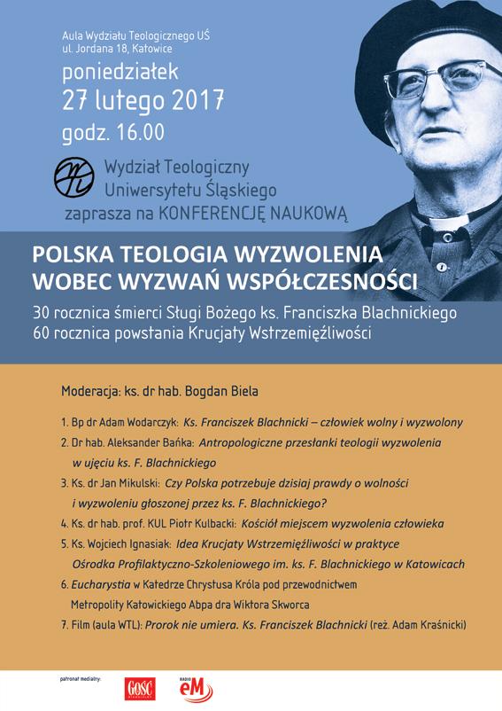 Plakat z programem konferencji oraz zdjęciem ks. Franciszka Blachnickiego