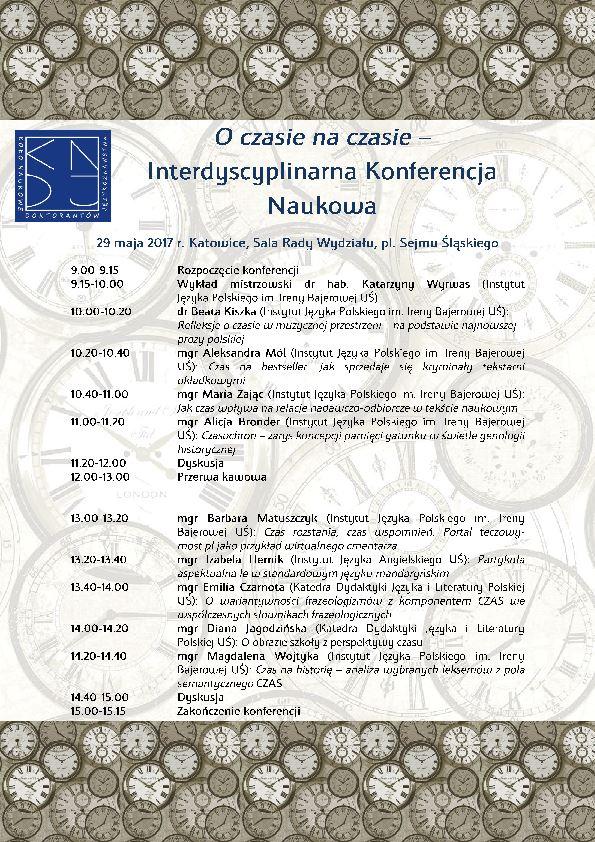 plakat promujący konferencję zawierający szczegółowy program wydarzenia