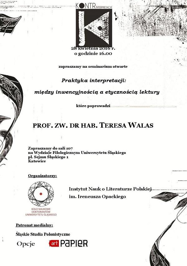 """plakat promujący seminarium prof. Teresy Walas z UJ, które poprowadzi w ramach projejtu """"Kontr-interpretacje"""""""