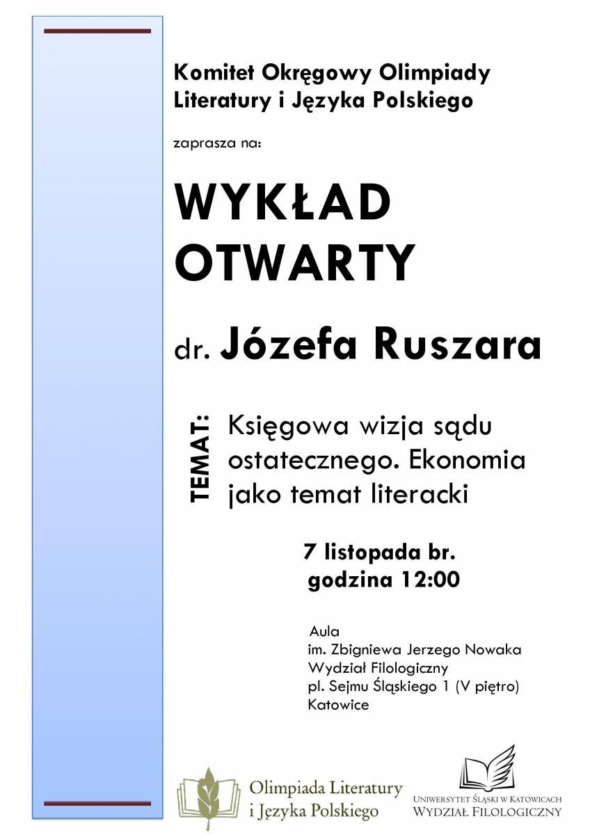 Plakat promujący wykład dr. Józefa Ruszara