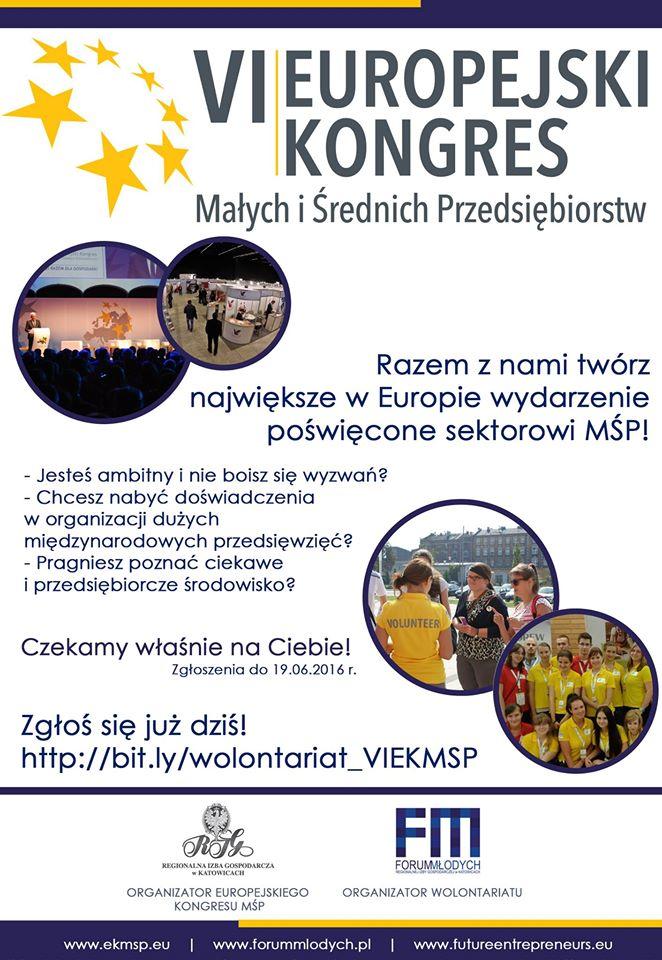 Plakat promujący wolontarian podczas VI Europejskiego Kongresu Małych i Średnich Przedsiębiorstw