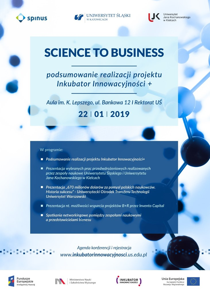 Plakat promujący konferencję podsumowującą program Inkubator Innowacyjności+