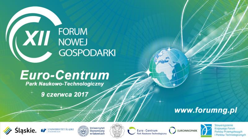Plakat promujący 12. edycję Forum Nowej Gospodarki zawierający nazwę wydarzenia i dane organizatorów
