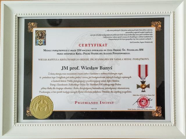Certyfikat dotyczący przyznania odznaczenia