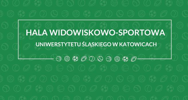 Grafika: zielone tło z napisem Hala Widowiskowo-Sportowa