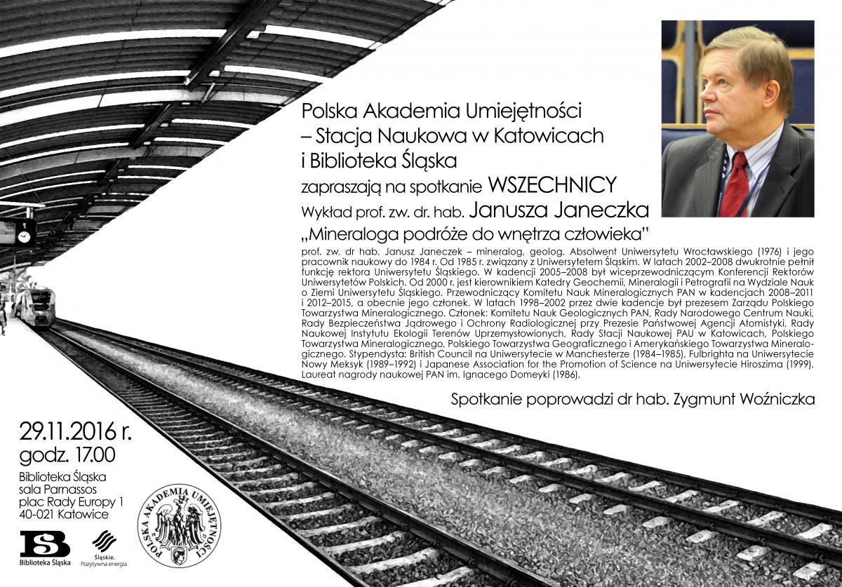 Plakat promujący wykład prof. Janusza Janeczka w ramach Wszechnicy PAU