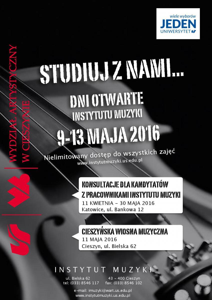 """plaktat promujący wydarzenie pn. """"Dni Otwarte Instytutu Muzyki"""""""