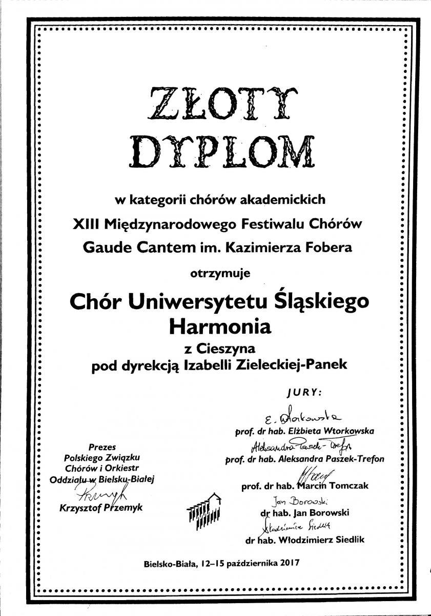Skan Złotego Dyplomu dla Chóru UŚ Harmoonia zawierający nazwę festiwalu i podpisy jury