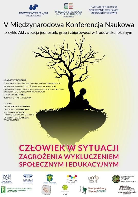 plakat promujący V Międzynarodową Konferencję Naukową o wykluczeniu odbywającą się w Cieszynie