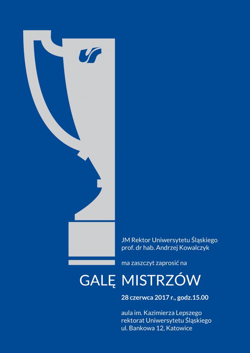 Plakat promujący Galę Mistrzów 2017 zawierający podstawowe dane nt. wydarzenia