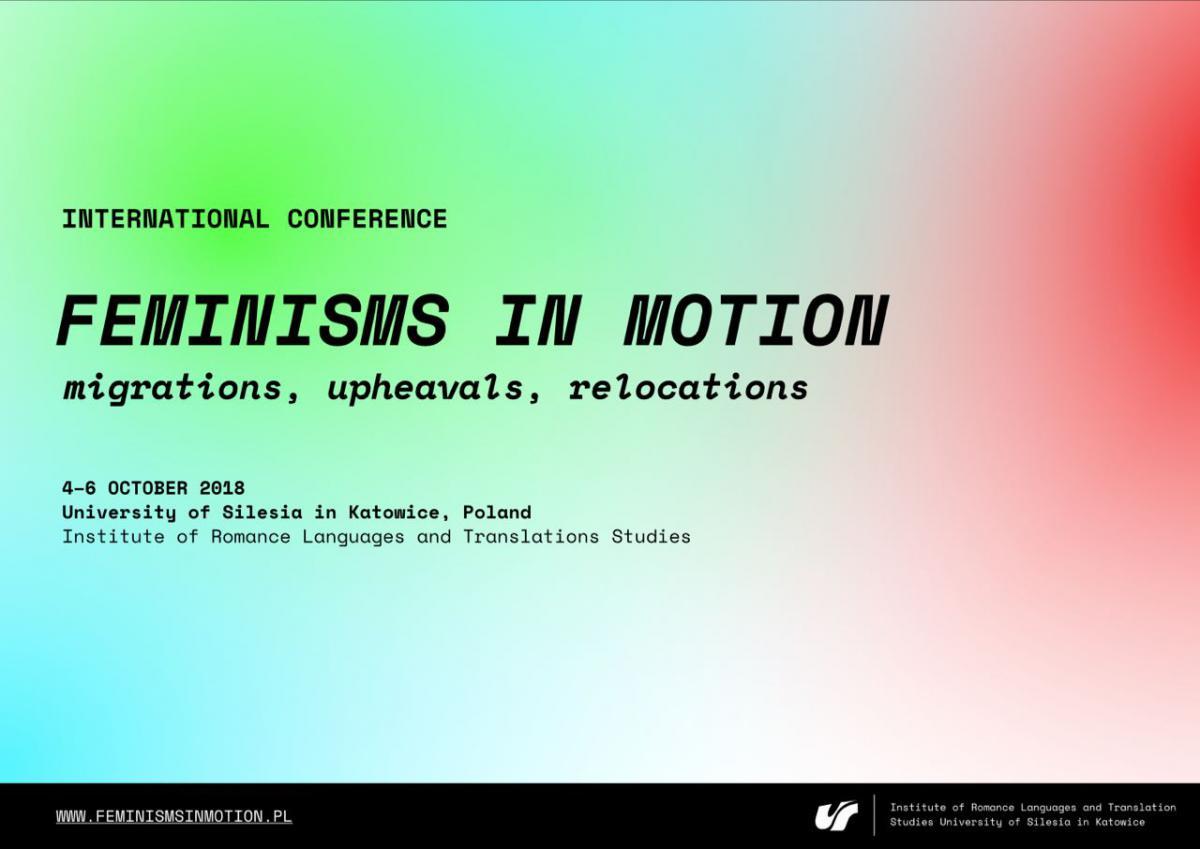 plakat promujący konferencję - różnobarwne nakładanie się na siebie kolorów. Na plakacie zamieszczono tytuł,miejsce i datę konferencji oraz logo organizatorów