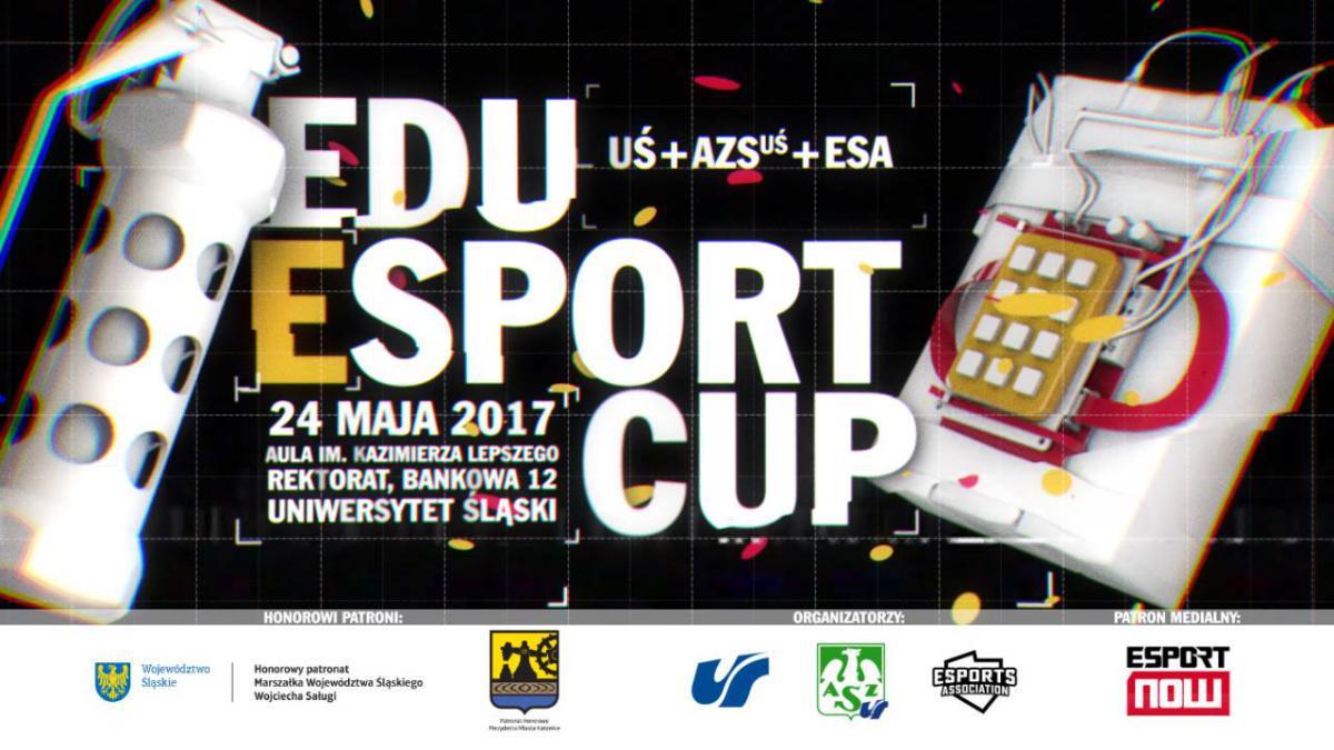 plakat promujący turniej e-sportowy EduEsportCup z nazwą i najważniejszymi szczegółami dotyczącymi wydarzenia