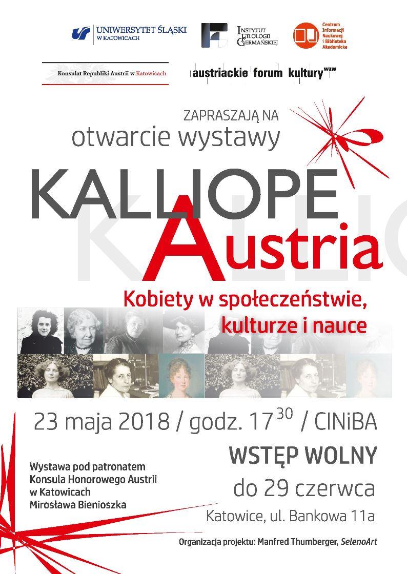 """plakat promujący otwarcie wystawy """"Kalliope. Austria"""" zawierający zdjęcia kilku najważniejszych kobiet austriackich, najistotniejsze dane nt. wydarzenia oraz logo organizatorów. Przeważa tonacja biała, z czerwonymi wstawkami"""