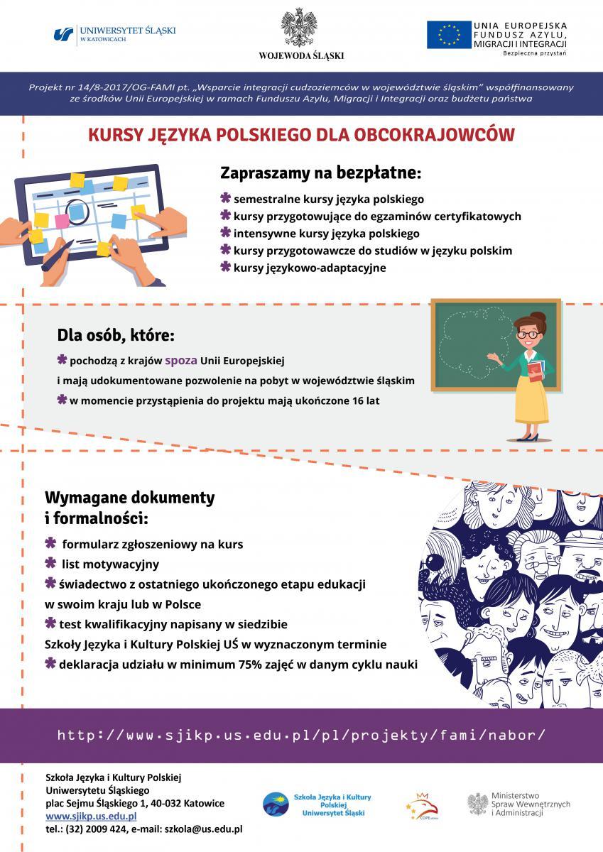 plakat promujący bezpłatne kursy dla cudzoziemców - szczegółowe informacje nt. rodzajów kursów oraz logo wykonawców