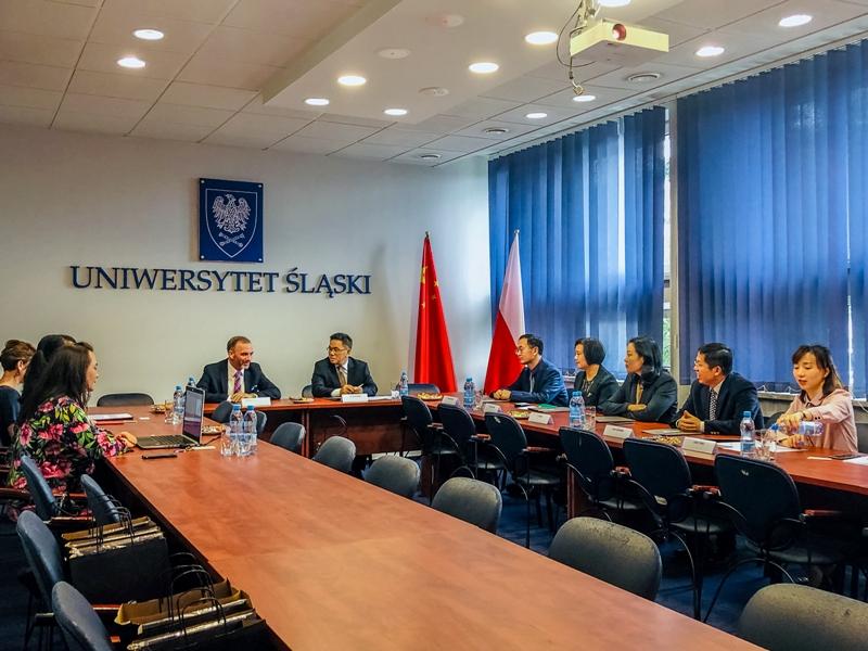 Uczestnicy spotkania w siedzibie Uniwersytetu Śląskiego
