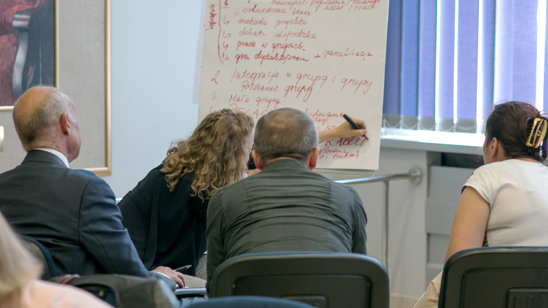 Warsztaty, praca w grupach, tworzenie notatek na tablicy
