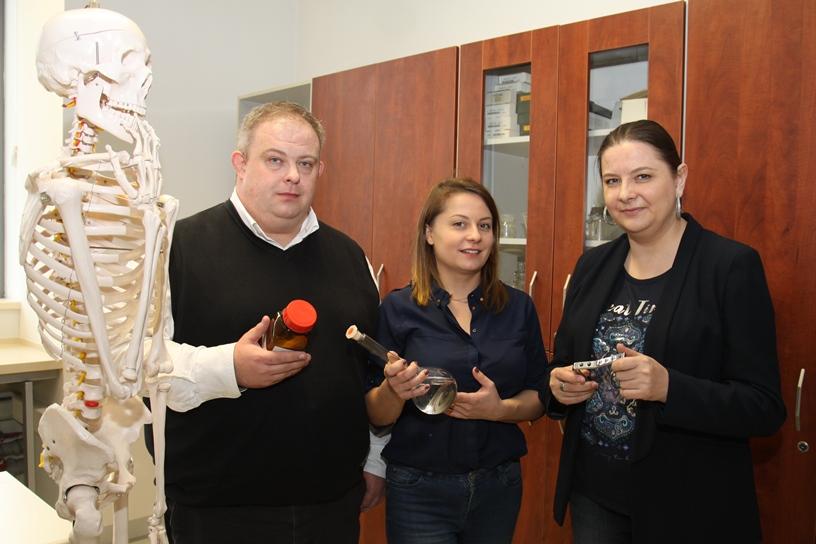 Na zdjęciu od lewej: model kościotrupa, dr Grzegorz Dercz, mgr Magdalena Szklarska, dr Bożena Łosiewicz