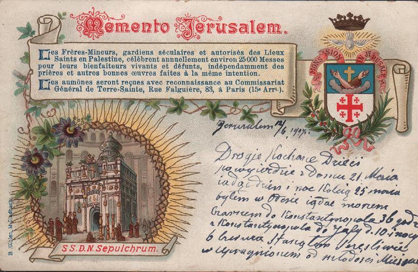 List z Ziemi Świętej do rodziny Augusta Pogorzelskiego z 1907 roku