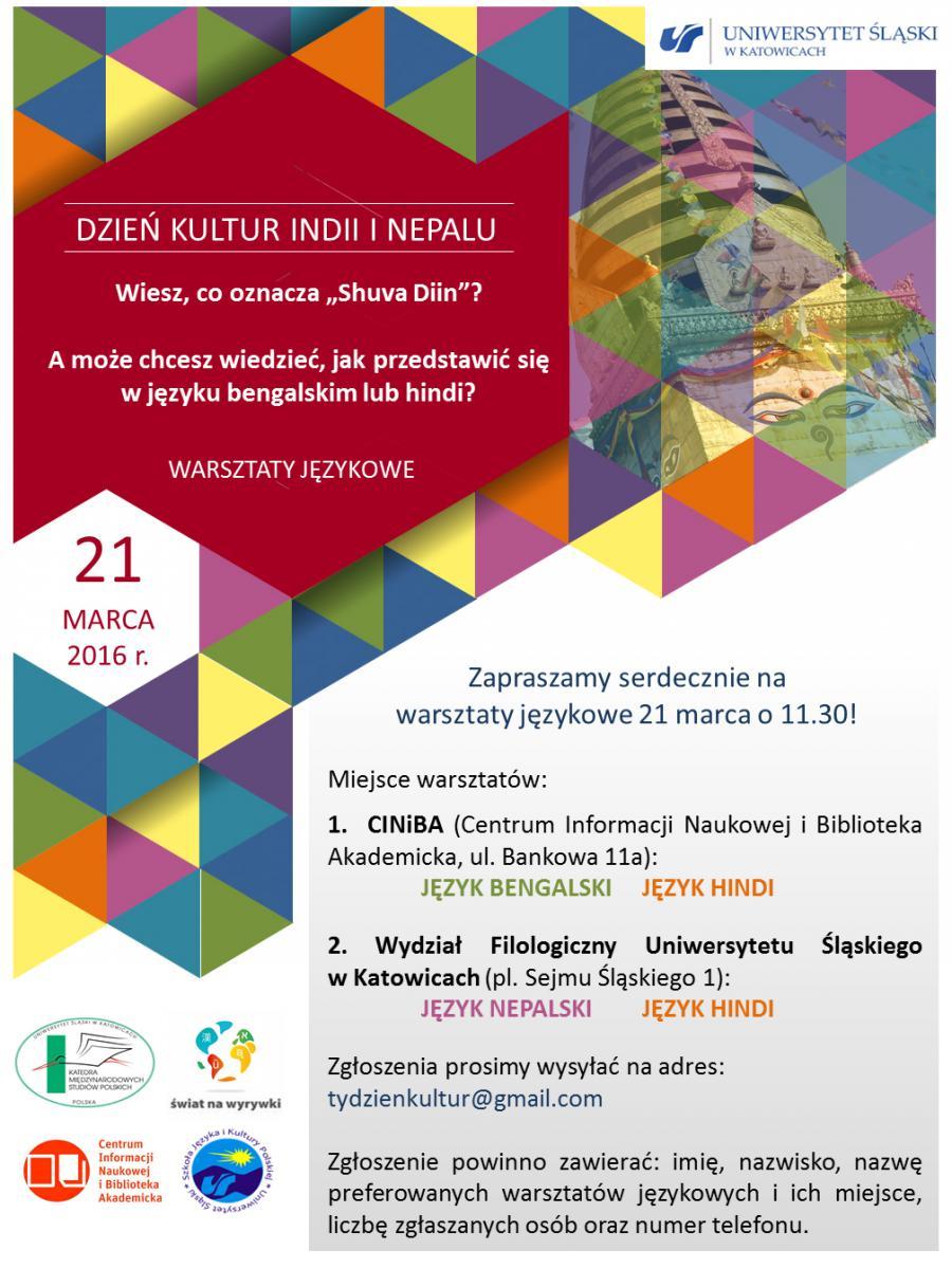 plakat dnia kultur Indii i Neapolu dotyczący warsztatów językowych