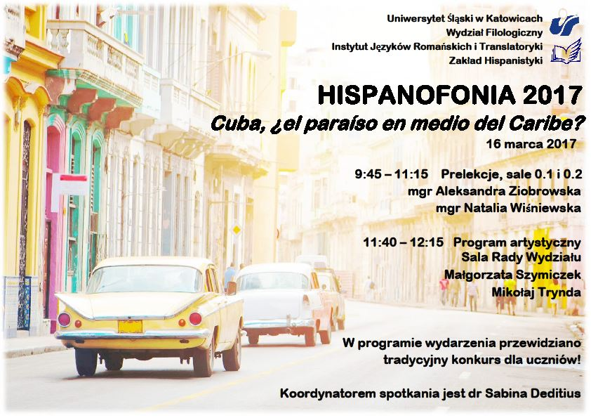 Plakat promujący Hispanofonię 2017 zawierający program wydarzenia