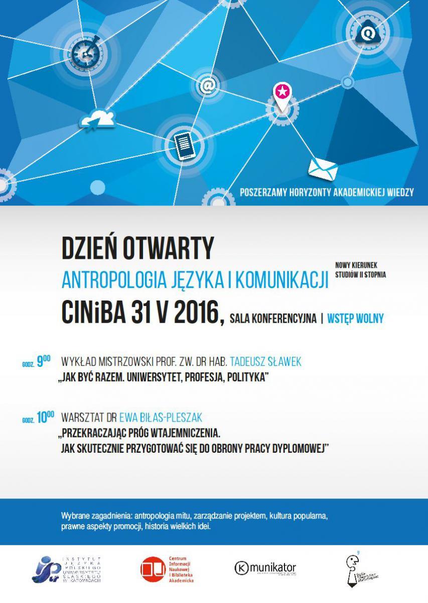 Plakat promujący dzień otwarty kierunku antropologia języka i komuniakcji