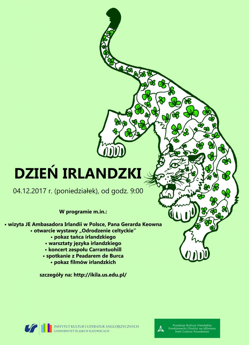 plakat promujący dzień irlandzki z pumą i programem wydarzenia