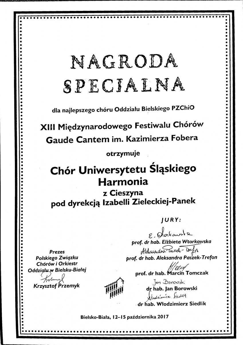 skan dyplomu za nagrodę specjalną dla Chóru UŚ Harmonia zawierający nazwę festiwalu oraz podpisy członków jury