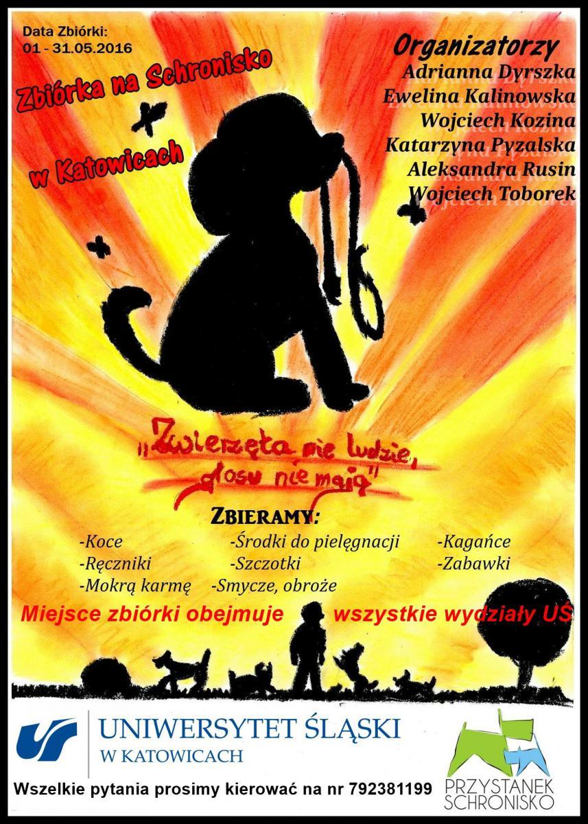 Plakat informujący o zbiórce na rzecz zwierząt ze schroniska.