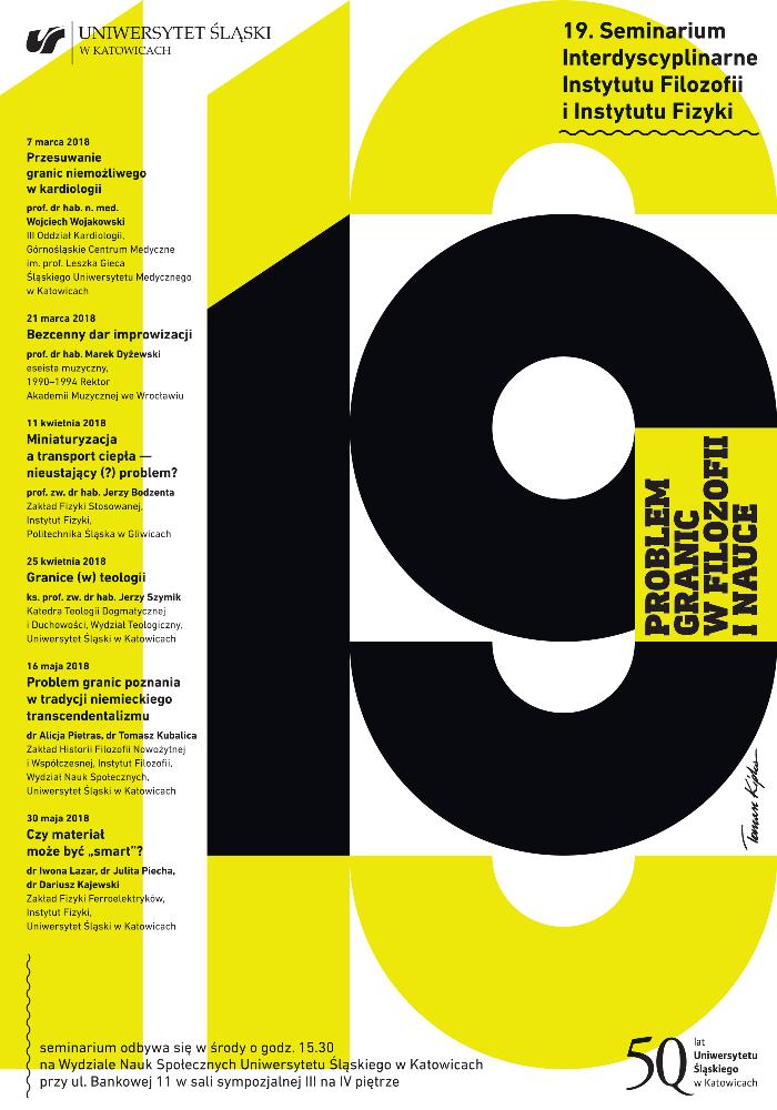 Plakat wydarzenia, na białym tle dominuje powtórzona liczba 19 w kolorach żółtym i czarnym, jest też program seminariów na semestr letni oraz tytuł cyklu