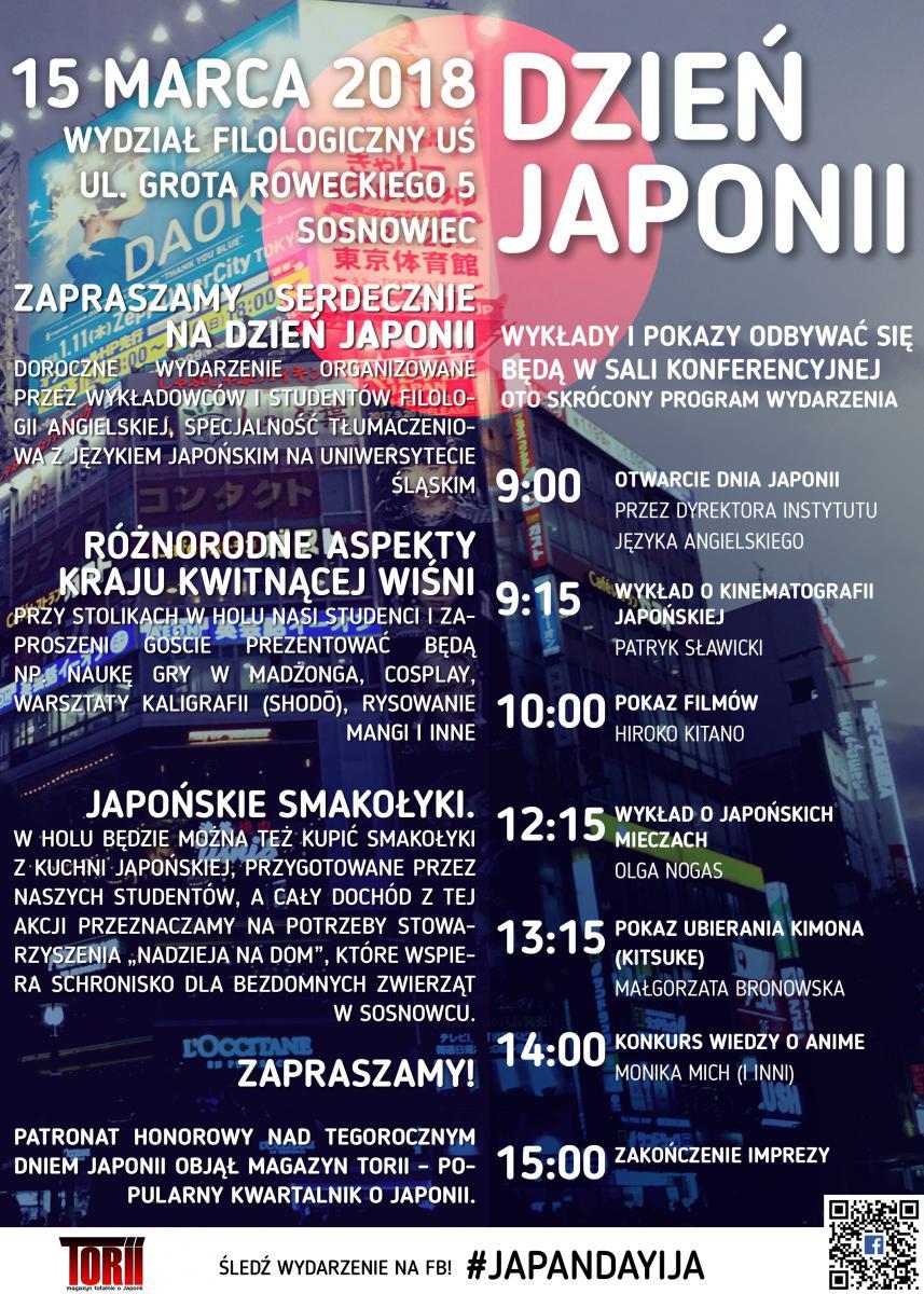 Plakat promujący Dzień Japonii 2018 zawierający dane nt. miejsca i daty wydarzenia oraz szczegółowy program