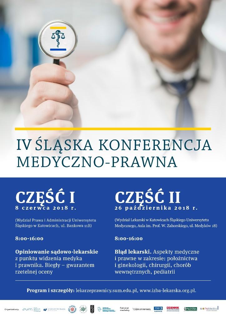 Plakat promujący IV Śląską Konferencję Medyczno-Prawną