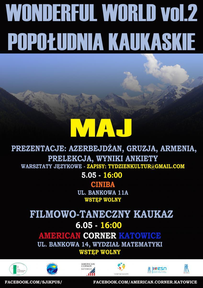 """Plakat promujący majowe """"Popołudnia kaukaskie"""""""