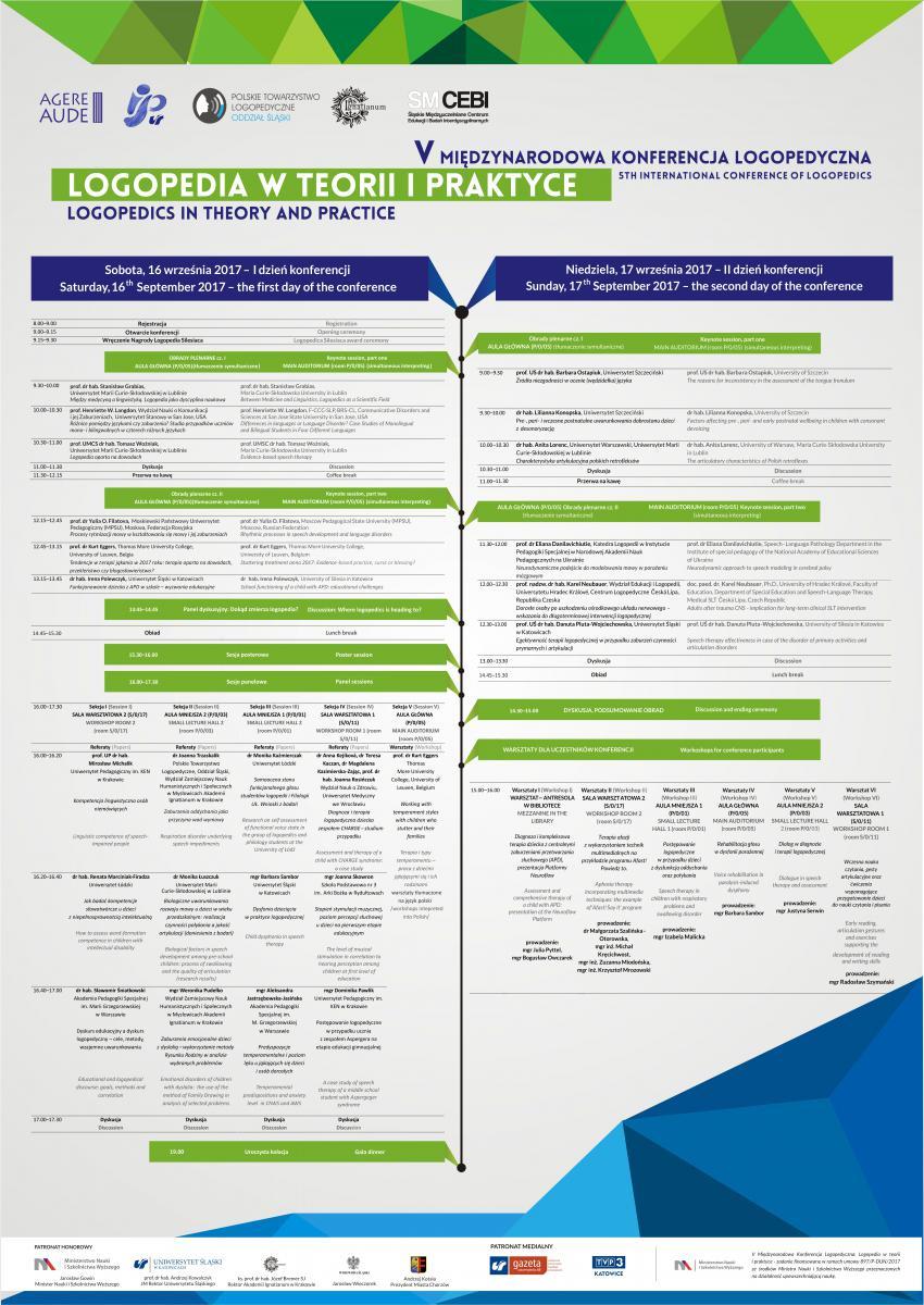 Plakat promujący konferencję zawierający szczegółowy program wydarzenia,loga organizatorów, tytuł, miejsce i datę wydarzenia