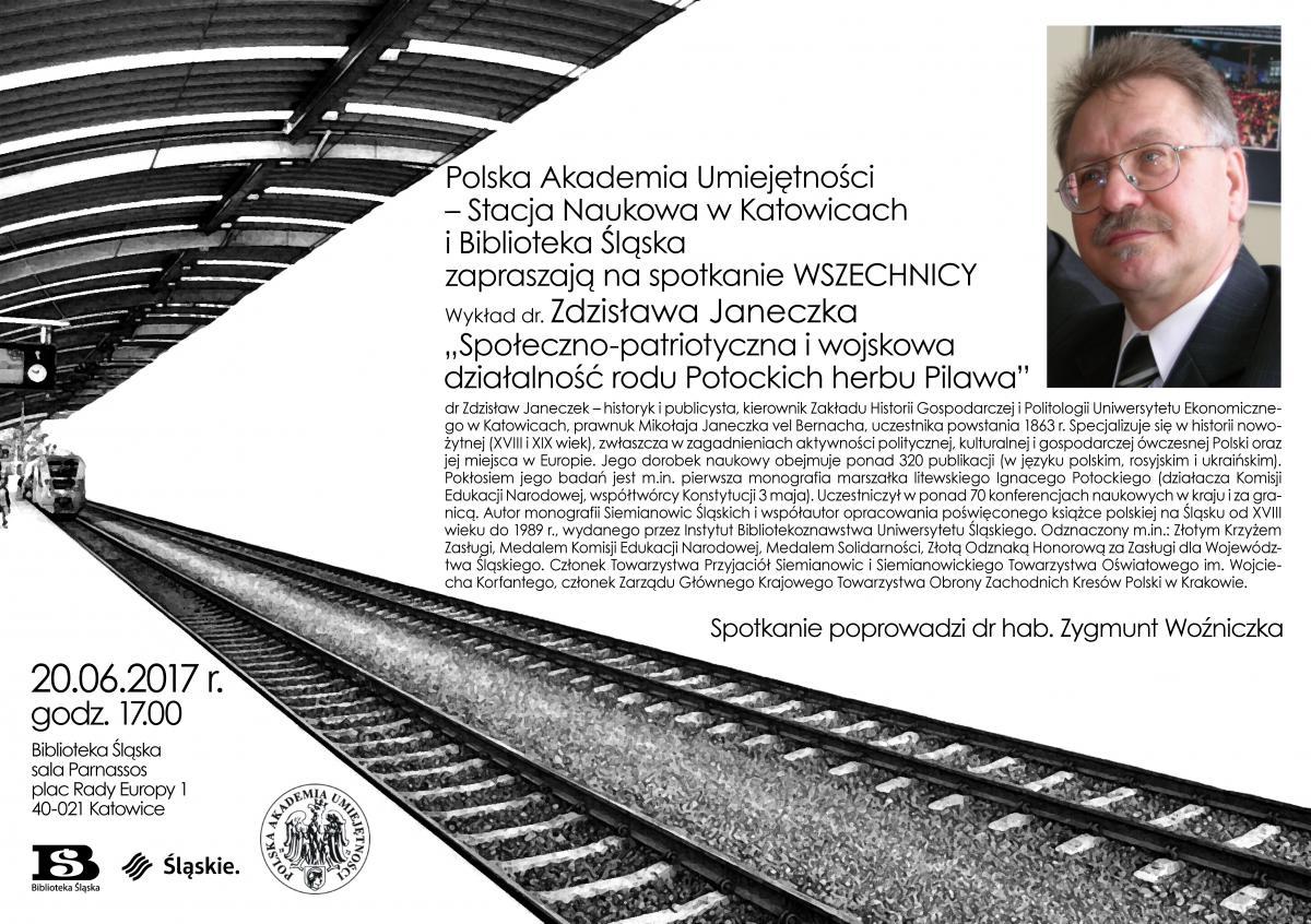 Plakat promujący spotkanie wszevchnicy PAU ze zdjęciem dr. Zdzisława Janeczka i jego biogramem