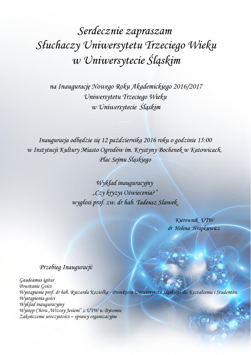 Plakat promujący inaugurację UTW