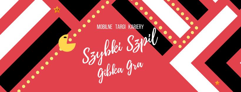 Plakat reklamujący wydarzenie: na czerwonym tle napis: Mobilne Targi Kariery Szybki szpil, gibka gra