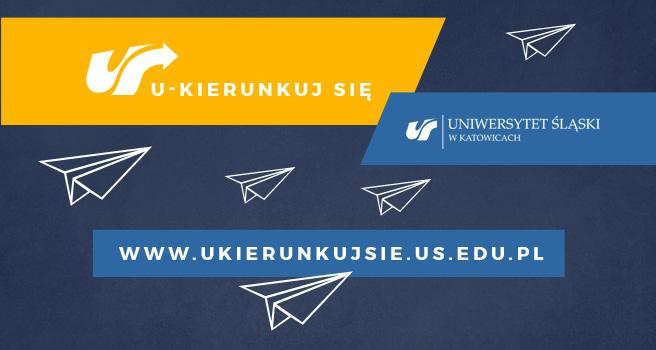 Plakat reklamujący quiz: na granatowym tle hasła: ukierunkuj się, adres strony www.ukierunkujsie.us.edu.pl, logo uczelni oraz grafiki przedstawiające latające samoloty