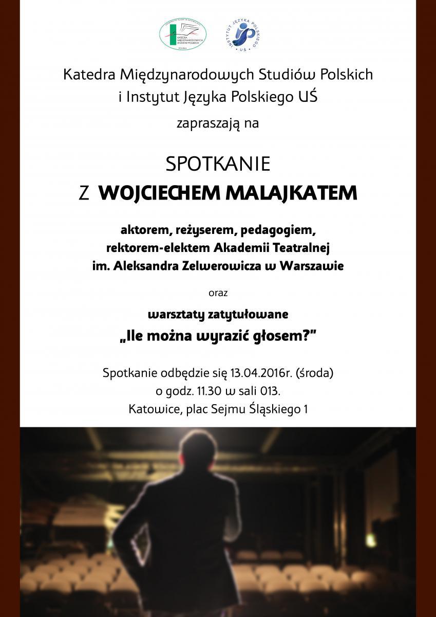 plakat promujący spotkanie z Wojciechem Malajkatem