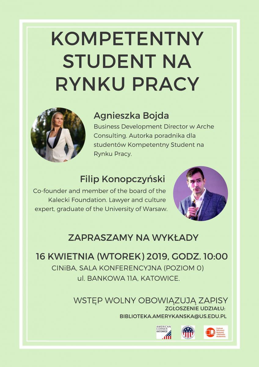 """Na zdjęciu widoczny jest plakat wydarzenia """"Kompetentny student na rynku pracy""""."""