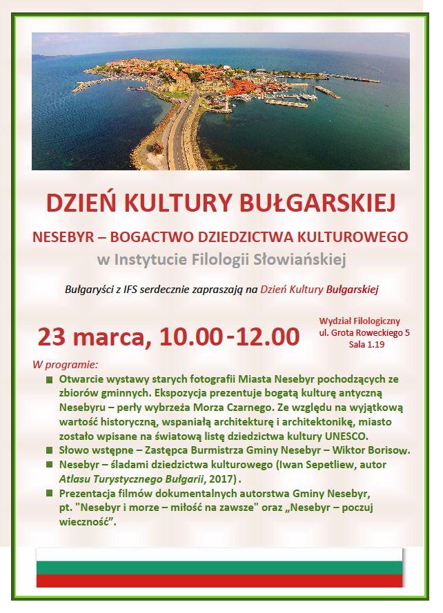 Plakat promujący Dzień Kultury Bułgarskiej ze zdjęciem Nesebyr i programem wydarzenia