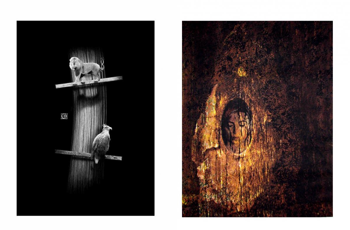 Grafiki wystawione na aukcji: pierwsza w kolorze czarnym z wizerunkiem lwa oraz orła, druga w kolorze miedzianym z twarzą kobiety odbitej jakby w lustrze