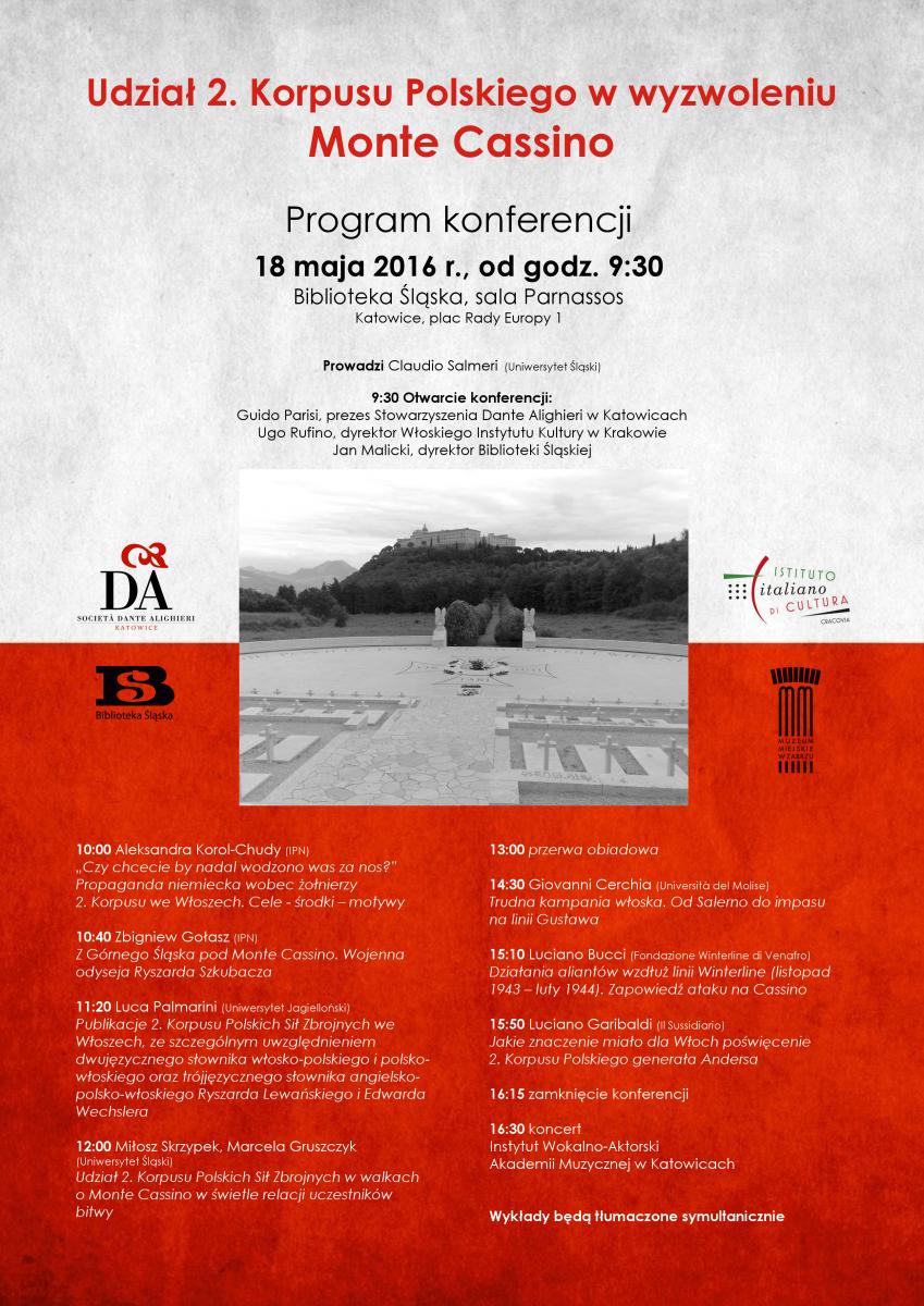 Plakat promujący konferencję nt. udziału 2. KOrpusu Polskiego w bitwie o Monte Cassino