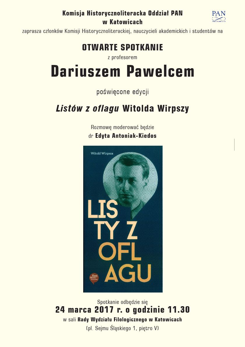 """Plakat promujący spotkanie z prof. Dariuszem Pawelcem zawierające okładkę książki pt. """"Listy z oflagu"""" Witolda Wirpszy"""