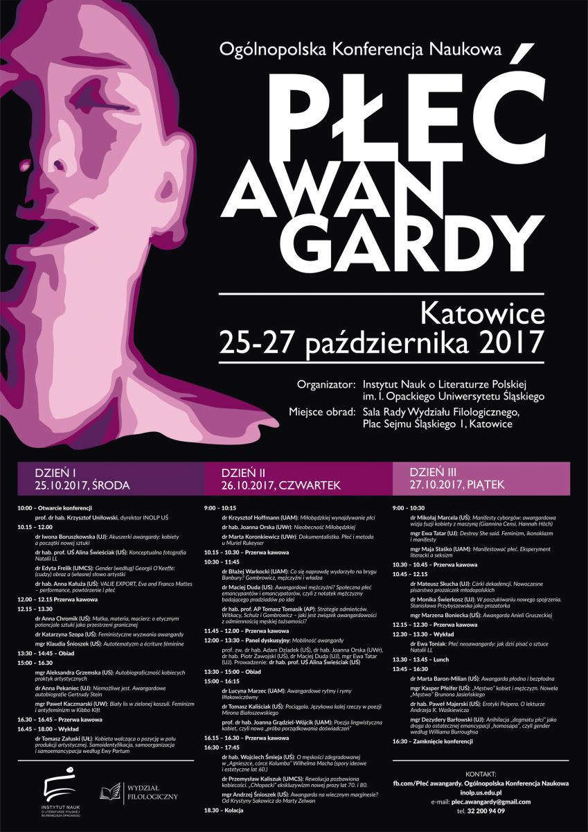 Plakat konferencji z datą i miejscem wydarzenia oraz szczegółowym programem