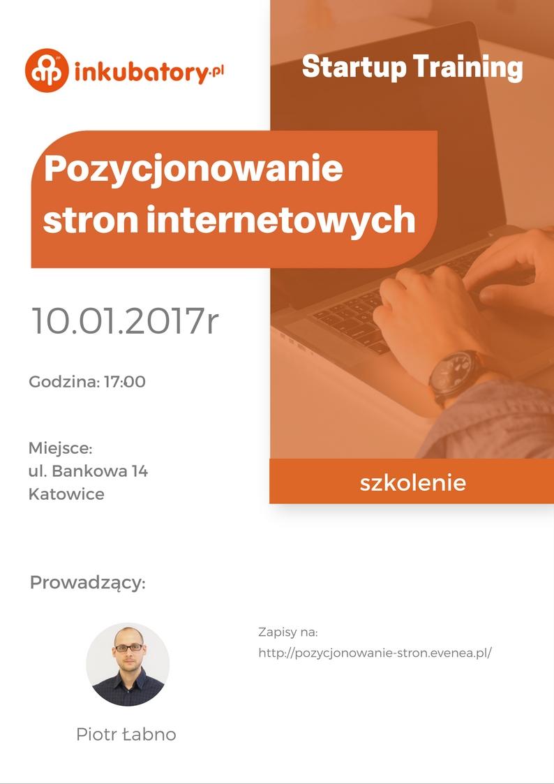 """Plakat promujący szkolenie pt. """"Pozycjonowanie stron internetowych"""""""