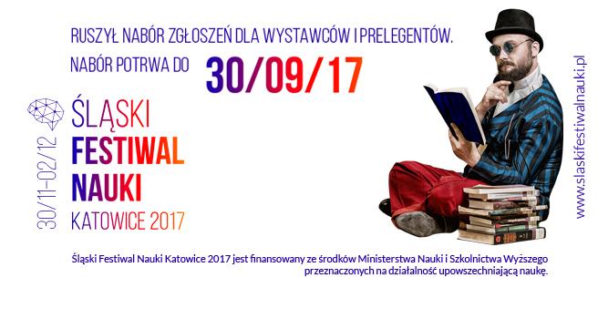 Grafika promująca nabór zgłoszeń na Śląski Festiwal Nauki Katowice 2017