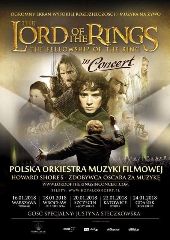 Plakat promujący koncert połączony z projekcją filmu
