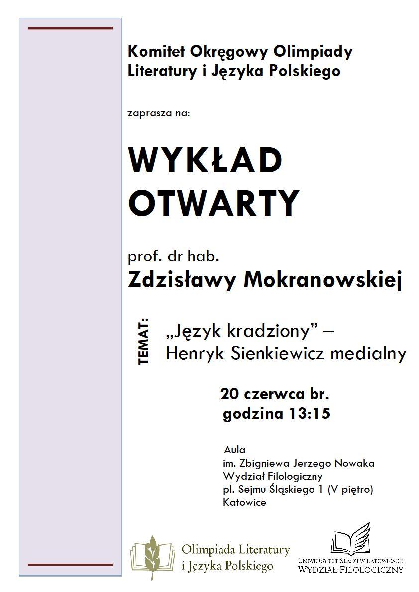 plakat promujący wykład prof. Zdzisławy Mokranowskiej